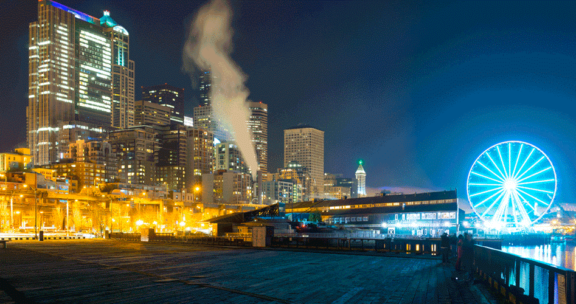 Seattle waterfront at night