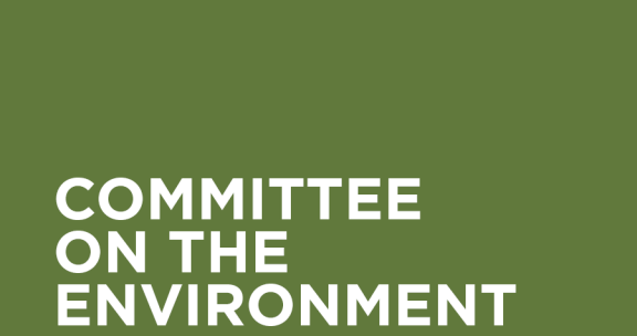 """White text on olive green background: """"Committee on the Environment"""""""
