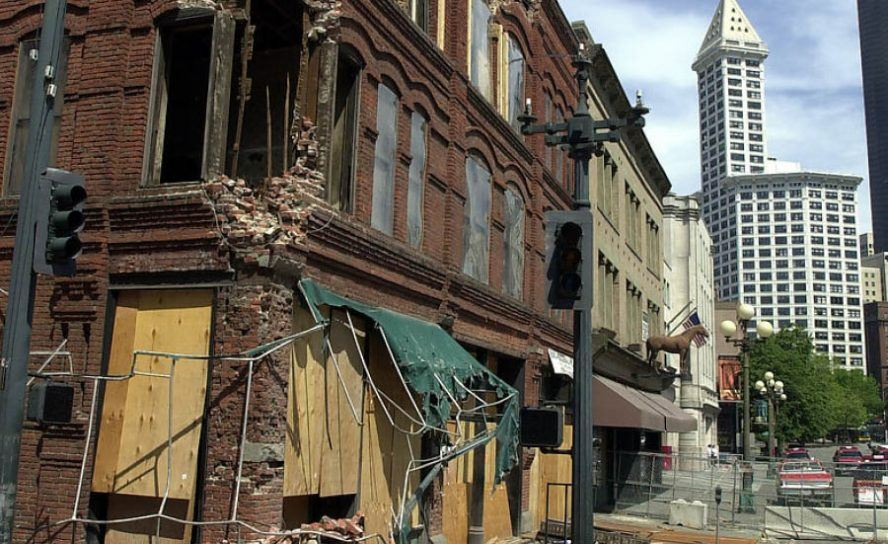 earthquake damage to the Cadillac Hotel in Seattle